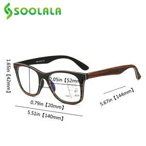 Image 5 - SOOLALA Multifocus Progressive Anti Blue Light Reading Glasses Women Men Near Far Sight Woodgrain Hyperopia Reading Glasses