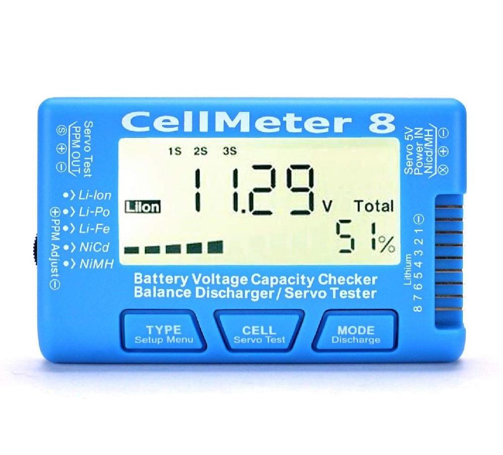 Alta qualidade rc CellMeter-8 1-8 s digital bateria capacidade verificador de tensão medidor lipo li-lon nimh bateria tester cellmeter 8