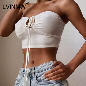 LVINMW Sexy Solid Lace Up Bow Halter Ruched Crop Top Fashion Sleeveless Backless Tube Tops Female Streetwear Tops 2019 New Women(China)