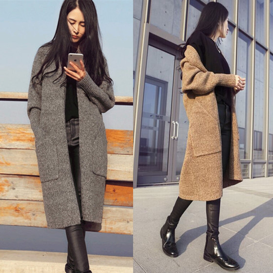 Women Autumn Winter Clothing Suit-dress Knitting Unlined Upper Garment Sweater Long Fund Sweater Cardigan Slim Woman's Clothing