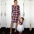 2019 nova mamãe e eu família olhar mãe menina xadrez combinando vestido família roupas mãe e filha vestidos
