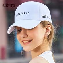 BISONJS 2020 New Fashion Letter Embroidered Baseball Caps Men Summer Adjustable Snapback Cap Breathable Cotton Sun Hat For Women