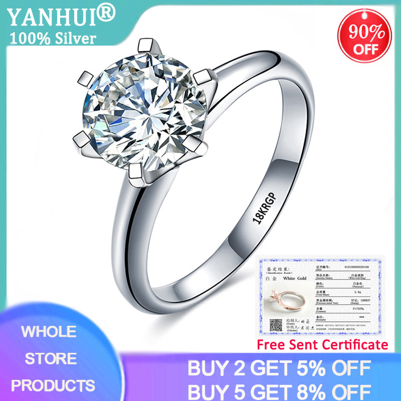 YANHUI With Certificate Luxury Solitaire 2.0ct Wedding Ring Original Pure 18K White Gold Zircon Engagement Rings For Women R168