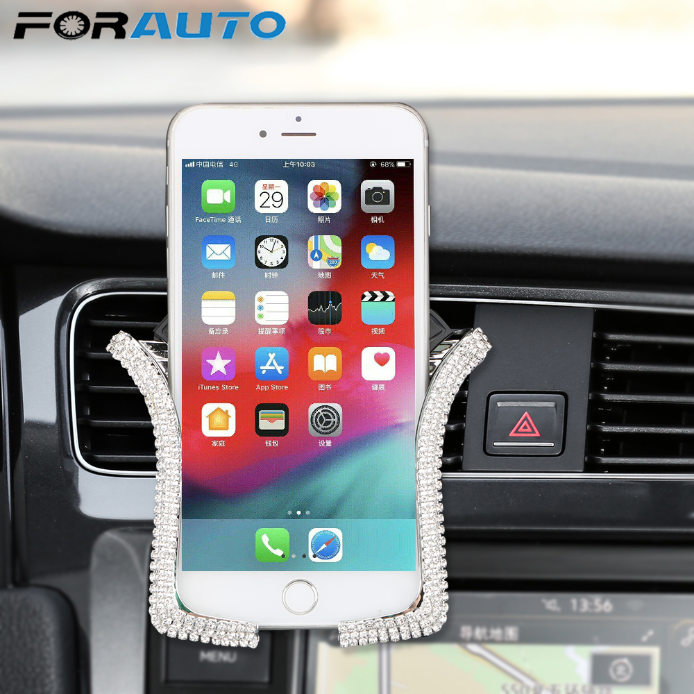 Universal Car Phone Holder with Bing Crystal Rhinestone Car Air Vent Mount Clip Cell Phone Holder for iPhone Samsung Car Holder|Universal Car Bracket| |  - title=
