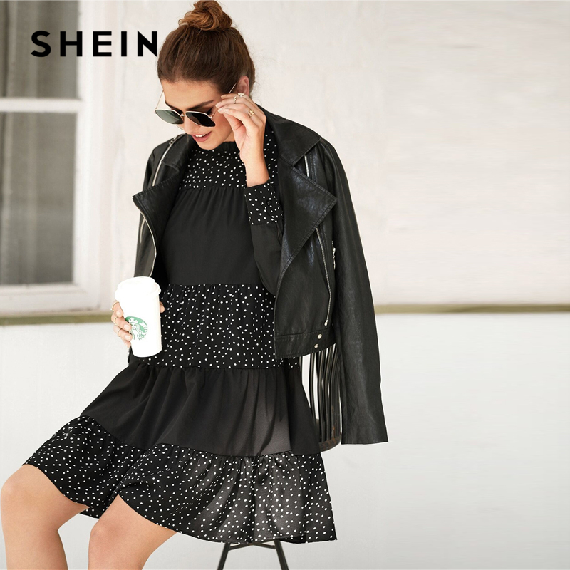 Black Polka-Dotted Babydoll Dress 4