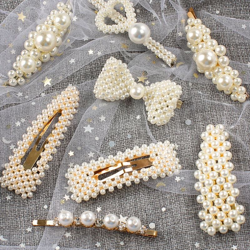 Fashion Pearl Hair Clip for Women Korea Barrette Hairpins Trendy Handmade Hair Styling Accessories child Hair accessories