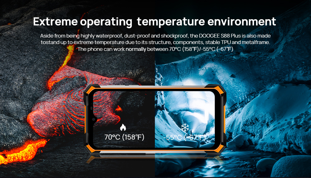 DOOGEE S88 Plus Rugged SmartPhone 48MP Main Camera 8GB RAM 128GB ROM IP68/IP69K smart phone Android 10 OS Global version