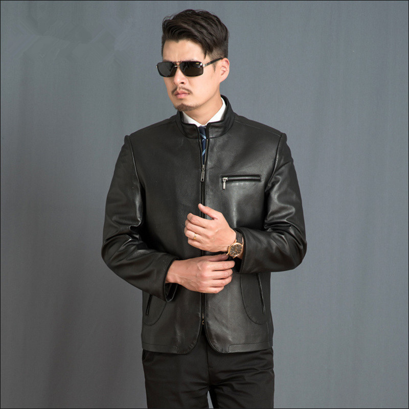 Real Black Casual Leather Jacket Mens Sheepskin Coat Spring Autumn Genuine Leather Jackets Parka Veste Cuir Homme FYY590 S