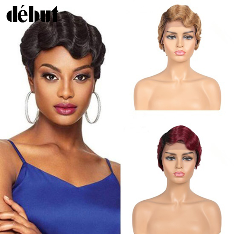Debut Five Colors Finger Wave Human Short Hair Wigs For Black Women Ocean Wave Bob Wigs Short Pixie Cut Wig Brazilian Remy Wigs