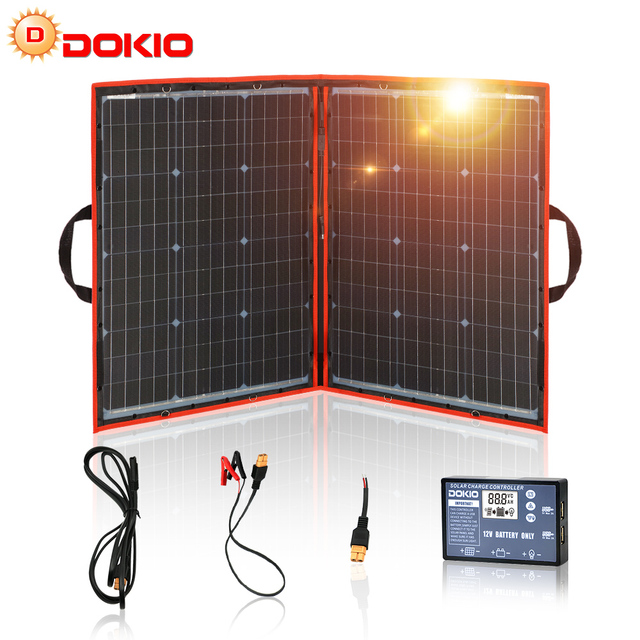 Dokio 100W 110W (55Wx2Pcs) 18V Flexible Black Solar Panels China Foldable + 12/24V Volt Controller 110 Watt Panels Solar 1
