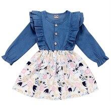 New Kid Dresses For Girls Ruffled Sleeve Floral Print Denim Blue Dress Fall Casual Long Sleeve Princess Dress roupa infantil D30 long sleeve floral print mini swing dress