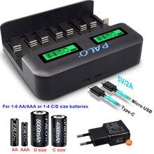 PALO cargador de batería AA, AAA, C, D, 1,2 V, AA, AAA, C, tamaño D, recargable, rápido, inteligente, USB, LCD, cargador de batería rápido