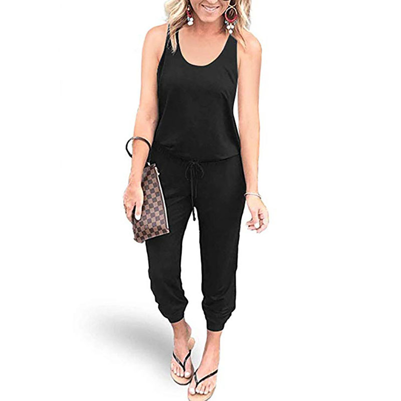 2020 Slim Summer Jumpsuit Women Lace Up Solid Casual Rompers Bodysuit Pocket Black Jump Suits New Sport Overalls Women Clothes
