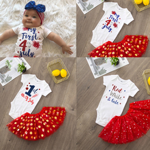 Bodysuit Toddler Girls Tutu Cake-Outfits Cute-Sets Infant Baby Fashion 4th First Red