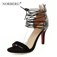 NORBERG sandals new ladies lace shoes pu material high heels fashion wild women