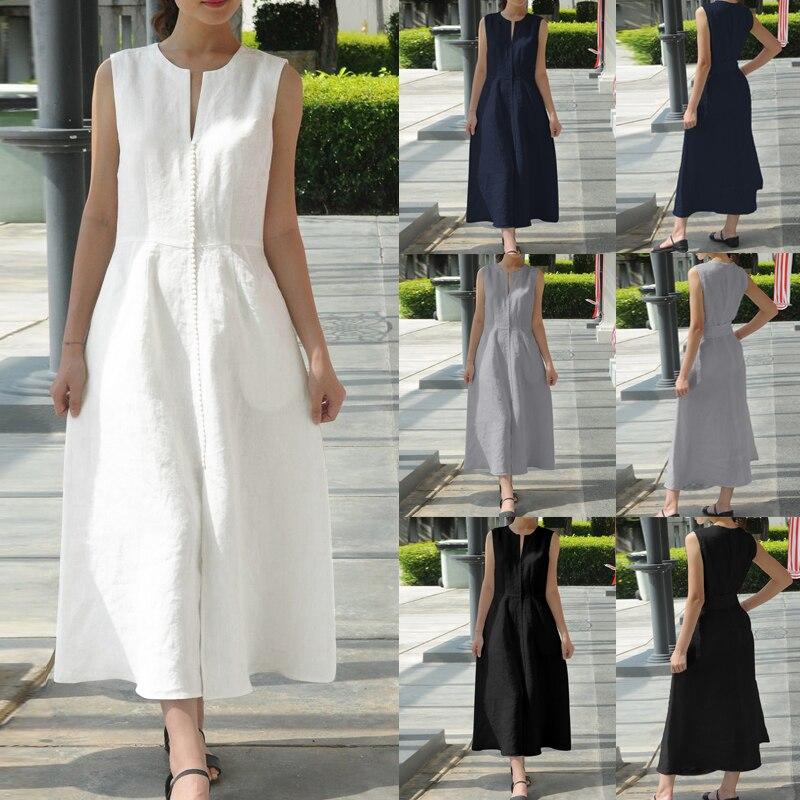 Celmia Women Vintage Linen Lace Maxi Dress 2019 Summer Sexy V Neck Sleeveless Long Dress Belted Loose Party Vestidos Plus Size
