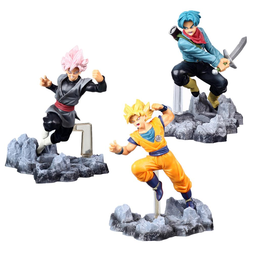 Free Shipping Anime Dragon Ball Goku Trunks PVC Action Figure Toys Dragon Ball Z Super Saiyan Rose Goku Black Model Toys