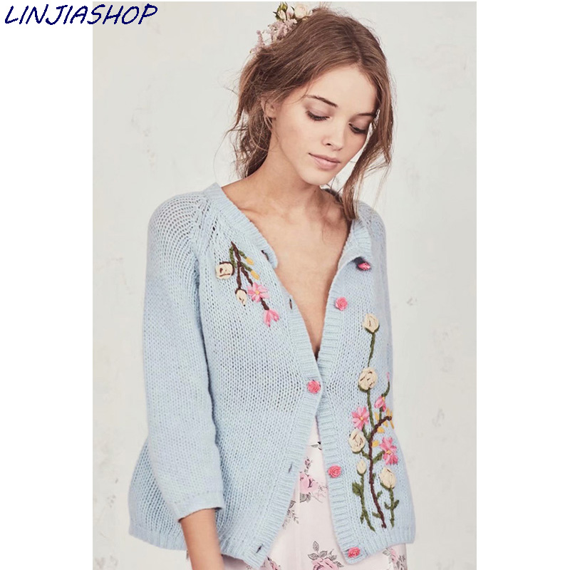 Super Chic Jumper Blue Cardigan Top Floral Long Sleeve Autumn Winter Outwear Casual Special Fashion Women Mohair Sweaters