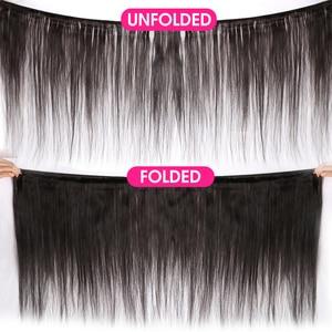 Image 2 - 10 30 Inch חבילות עם פרונטאלית ברזילאי Staright שיער חבילות עם פרונטאלית שיער טבעי חבילות עם תחרה פרונטאלית פנינה רמי שיער