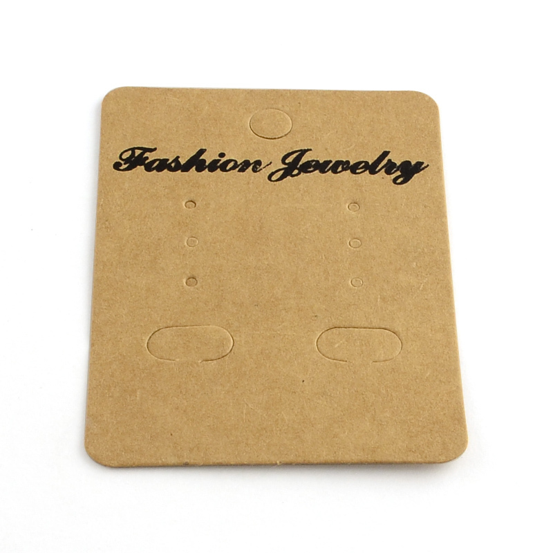 PandaHall 1000pc Rectangle Shape Cardboard Earring Display Cards, Camel, 70x50x0.5mm