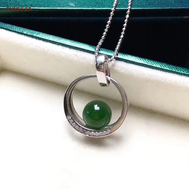 Certificado Natural Hetian Jasper CYNSFJA Real 925 Sterling Silver Handmade Sorte Amuleto Charme Jade Verde Pingente De Jóias Finas de Alta Qualidade os melhores Presentes