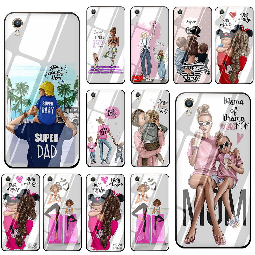 Black Brown Hair Baby Mom <font><b>Girl</b></font> Queen Tempered Glass Phone Cover <font><b>Case</b></font> For <font><b>OPPO</b></font> Reno Realme A3S A5 A1K A9 A37 <font><b>A57</b></font> A59 A73 A77 A83 image