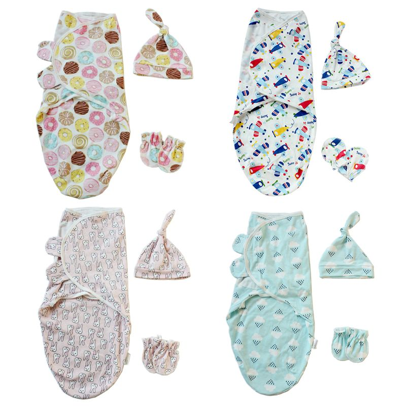 1 Set Baby Swaddle + Hat + Gloves Beanie Wrap Bathing Sleeping Bag Diaper Blanket Cartoon Cute Knotted Cap Anti-scratch Gloves N