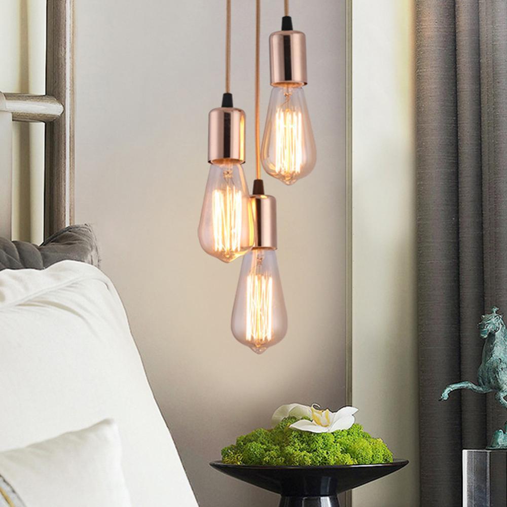 Lámpara colgante Industrial de araña nórdica, 3 cabezales, E27, Loft, Edison, 40cm, 50cm, 60cm