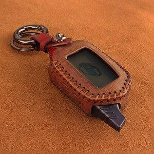 Image 2 - KEYYOU 3 Button Leather Case Cover B9/B6 Fob For Starline B9 B6 A91 A61 LCD Key Case 2 Way Car Alarm System keychain Car styling