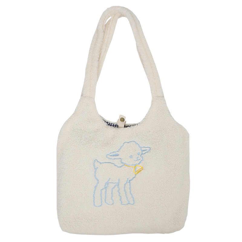 2020 بسيطة ins البرية تقليد الضأن الكشمير طالب سعة كبيرة حقيبة مدرسية حقيبة كتف حقيبة اليد