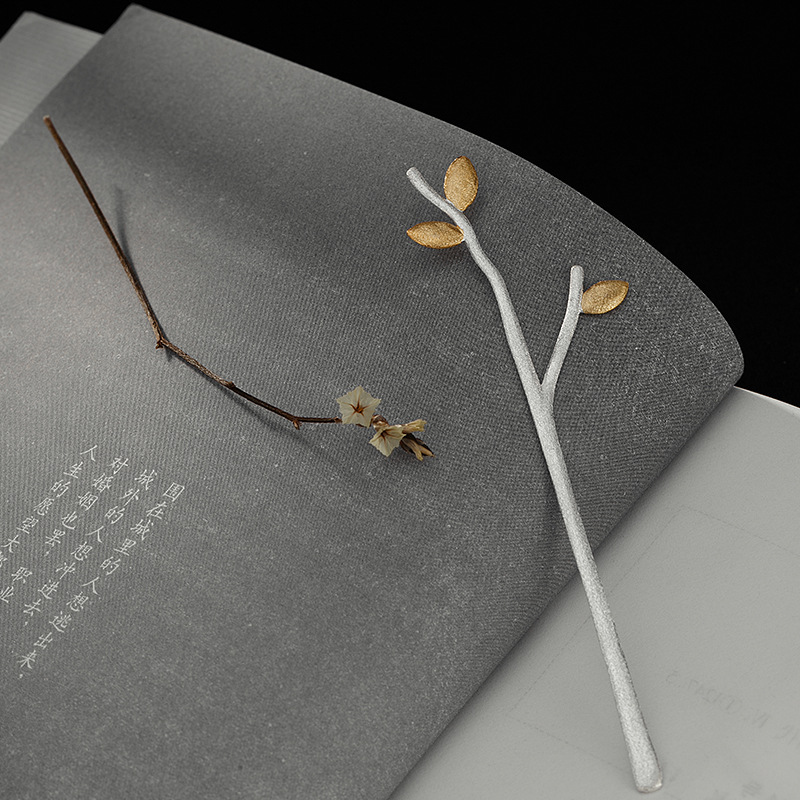 S925 Sterling Silver Silver Brushed Gold Leaves Branches Bookmark Birthday Teachers Graduation Gift Gift
