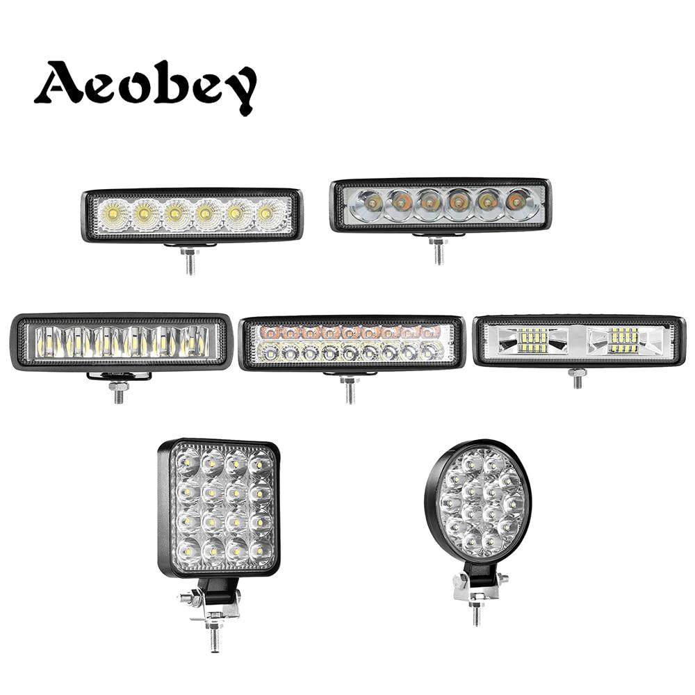 Led bar 18w 30w 48w 54w led light bar for 4x4 off road 12V 24V led work light for car fog light Reversing llight flood spot beam(China)
