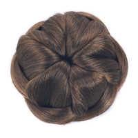 Soowee Flower Braided Clip In Fake Hair Bun Hair Chignon Fast Bun Donut Roller Hair Pieces for Women Scrunchies