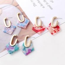 Acetate Acrylic Earrings Punk Colorful Women Earring Minimalist Girls Boho Simple Earings Stud Bohemian Geometric