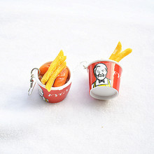 Creative Simulation Grilled Chicken and Chips Irregular Drop Earrings for Women Girl Funny Lovely Childlike Food Dangle Earrings