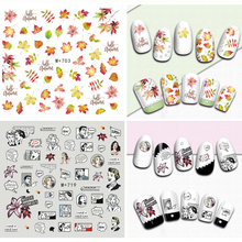 1 Pcs Water Transfer Nail Decal Sticker Maple Leaf Plant Flowers DIY Sliders Manicure Manga Women Nail Art Watermark Nail Decals