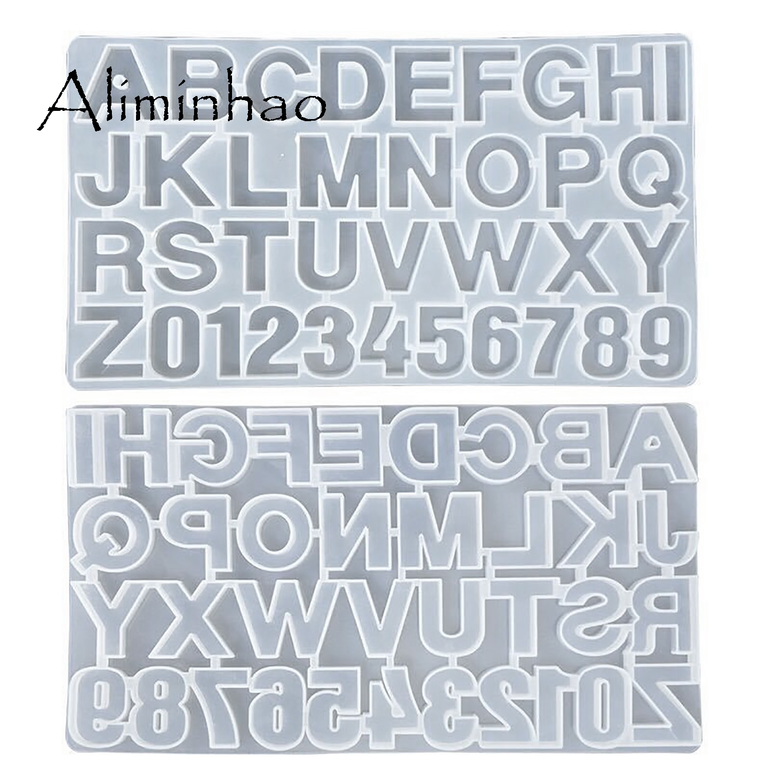 M001 Letter Mold Alphabet & Number Silicone Molds Initial Mold Large Clear Resin Mold Epoxy Resin Craft Supplies (36 Cavity)