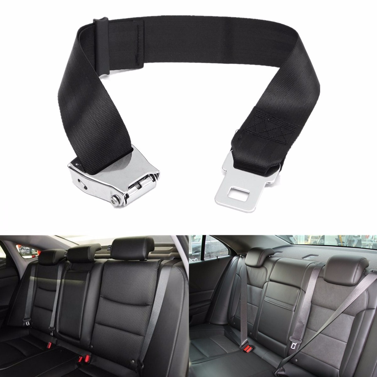 New Adjustable Black Airplane Seat Belt Extension Extender Buckle Aircraft Buckle Belt Extended High-strength Polyester Webbing image