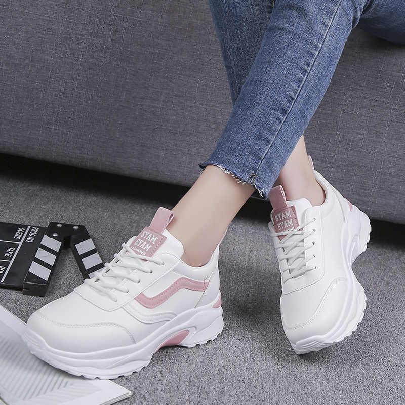 ผู้หญิง Vulcanize รองเท้าสบายๆแฟชั่น 2019 ใหม่ผู้หญิงสบาย Breathable สีขาวรองเท้าผู้หญิงแพลตฟอร์มรองเท้าผ้าใบ Chaussure Femme