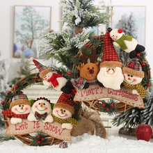 Christmas Wreath Decoration With Plush Doll  Party Wedding Wreaths Garland Material Rattan DIY