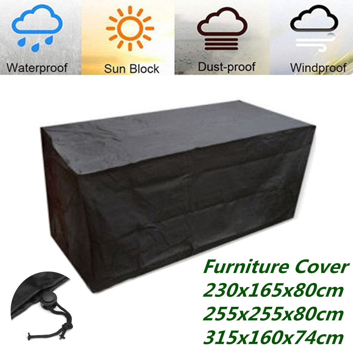 420D Heavy Duty Oxford Polyester Rectangular Patio Table Covers Waterproof Windproof & Ant Garden Furniture Covers Outdoor
