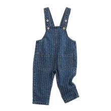 Kombinezon dresowy dla dzieci 12M do 4T dla dzieci niebieski kombinezon z odpinanymi dżinsami spodnie na jesień dla chłopców dziewczęce ubrania dla dzieci tanie tanio CN (pochodzenie) COTTON Unisex Przycisk fly Stałe Proste Kombinezony 310529 Pasuje prawda na wymiar weź swój normalny rozmiar