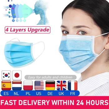 Spot Sales! 50Pcs/set Mask Disposable Non Woven 3 Layer Filter Mask Mouth Face Safety Mask Soft Breathable Masks In Stock