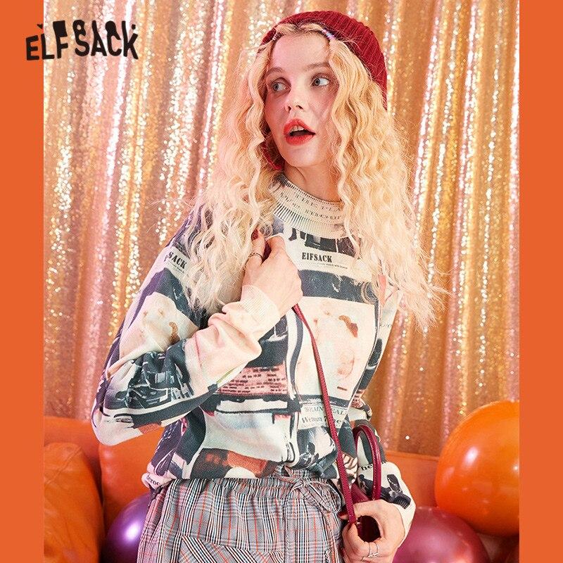ELFSACK Figure Print Streetwear Knitted Pullover Sweater Women Sweaters 2019 Autumn Korean Oversized Office Ladies Basic Tops
