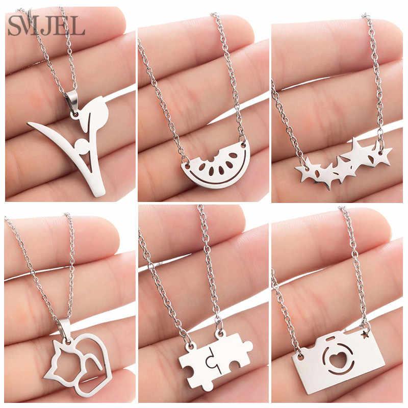 SMJEL Cartoon Camera Neckalce Pendants for Women Stainless Steel Cat Elephant Necklace Choker Femme  Jewelry Gift Dropshipping