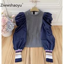 Ziwwshaoyu Designer Brand Autumn Winter Sweatshirt Pullovers Women Fashion Color Matching Puff Sleeve Casual Thick