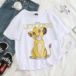 Women T-shirt Clothing Lion King Cartoon Print T Shirts Women Aesthetic Harajuku Short Sleeve Cute Shirt O Neck Top Plus Size