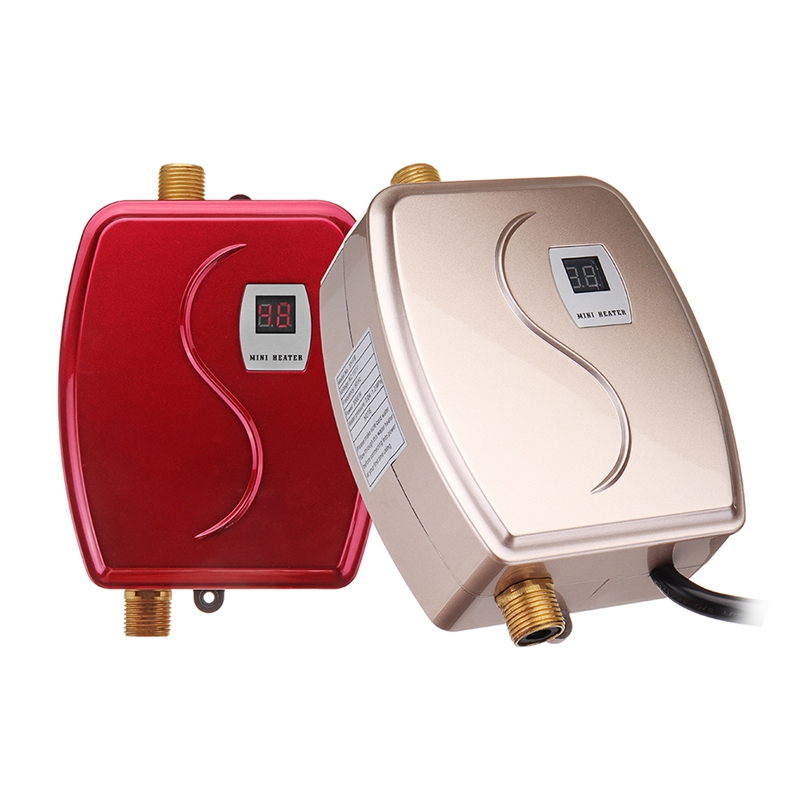XY-FG-GG,Mini Tankless LCD Digital Water Heater Instant Hot Faucet Kitchen Heating Thermostat US Plug Intelligent Energy-save