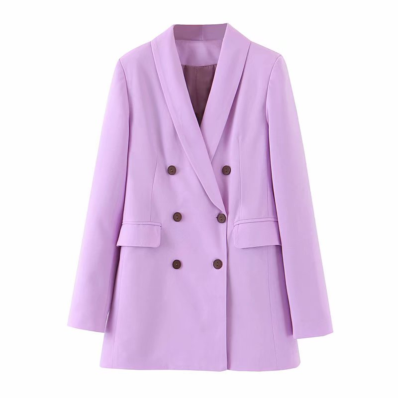 New Fall 2019 Casual Blazer Feminino Violet Womens Clothing Long Sleeve Blazer Women Long Coat Women