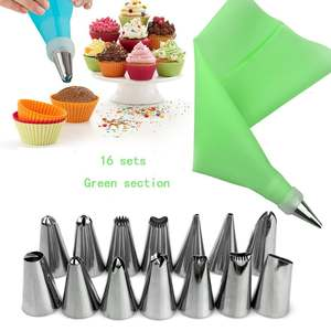 Nozzles Cake-Decorating-Tool Pastry-Bag Icing Piping Stainless-Steel Reusable DIY 16pcs